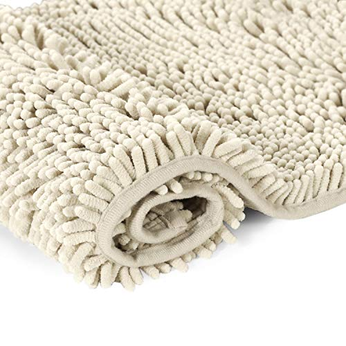 H.VERSAILTEX Cream Bath Mat Soft Shaggy Bathroom Rugs Rugs Luxury Microfiber Washable Bath Rug for Floor Bathroom Bedroom Living Room, 20 x 32 inches