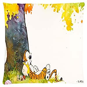 Calvin And Hobbes ~ Durable Unique Throw Square Pillow Case 18X18 inches Fashionable Diy Custom Personalized Pillowcase Design by Engood