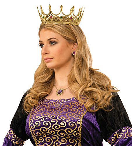 [Gold Medieval Royal Queen Plastic Crown Prince Costume Accessory Adult Princess] (King Queen Crown)