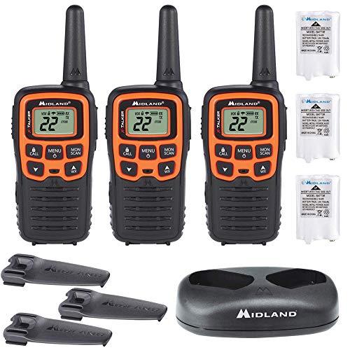 Midland - X-TALKER T51VP3, 22 Channel FRS Walkie Talkie - Up to 28 Mile  Range Two-Way Radio, 38 Privacy Codes, NOAA Weather Alert (3 Pack)