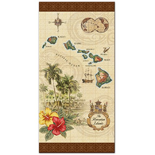 Island of Hawaii - Tan Beach Towel by Welcome to the Islands
