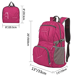 ORICSSON Rate 35L Carry on Large Portable Waterproof Backpack Daypack for Women & Men for Shopping,Travel, Hiking, Camping Wine