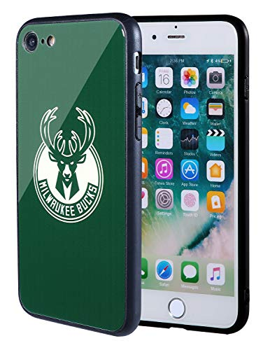 The Mass iPhone 8 case, iPhone 7 case, NBA Team Logo on Tempered Glass Back Cover and Soft TPU Frame for Apple iPhone 8/7 (Milwaukee Bucks, 4.7 inch)