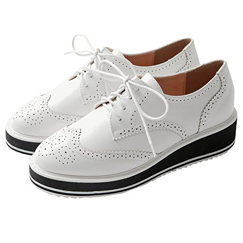 Minivog Wingtips Altura De La Plataforma Increasing Mujeres Oxford Zapatos Blanco