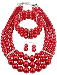 Multi Layer Simulated Pearl Strand Costume Jewelry Set