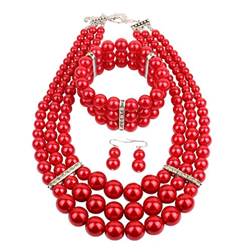 KOSMOS-LI Multi Layer Red Imitate Pearl Strand Costume Jewelry Set]()