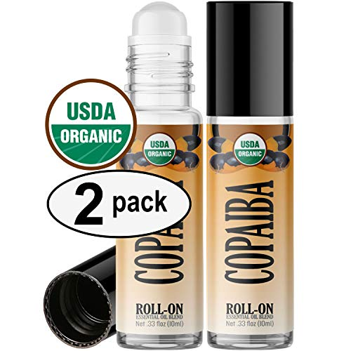 (Organic Copaiba Roll On Essential Oil Rollerball (2 Pack - USDA Certified Organic) Pre-diluted with Glass Roller Ball for Aromatherapy, Kids, Children, Adults Topical Skin Application - 10ml Bottle )