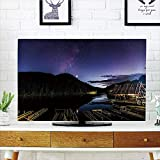 iPrint LCD TV dust Cover,Space,Disk Shaped Structured Hazy Band Milky Way Projection Over A compatibleest Space Constellation,Multi,3D Print Design Compatible 42'' TV