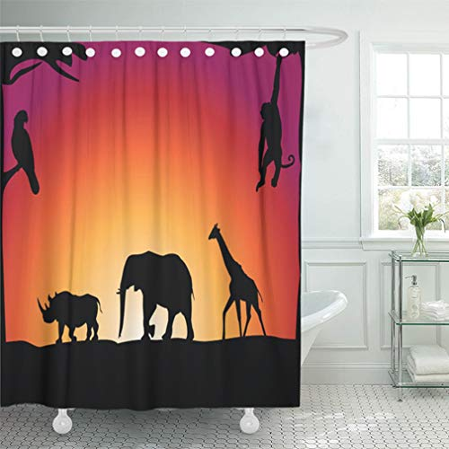 """Emvency 66""""x72"""" Shower Curtain Bathroom Waterproof Red Jungle African Animals Elephant Cartoon Painting Parrot Sunset Abstract Africa Home Decor Polyester Fabric Adjustable Hooks Set"""