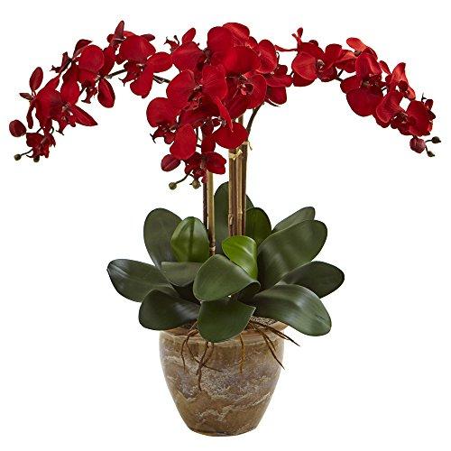 (Nearly Natural Triple Stem Phalaenopsis Silk Arrangement, Red)