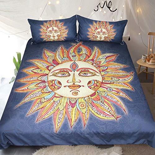 ShaHan Bedding Sun god Duvet Cover Natural Balance Golden Sun Mandala All Over Pattern Bed Set