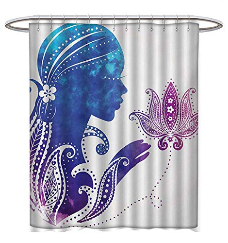 (Teen Girls Shower Curtains Waterproof Girls Silhouette with Flowers on Her Hair Floral Ornaments Meditation Spa Art Bathroom Set with Hooks W69 x L84 Purple Blue)