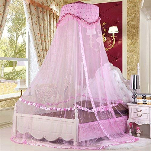 RuiHome Round Lace Baby Crib Bed Pink Canopy Dome Mosquito Netting for Home Travel Use