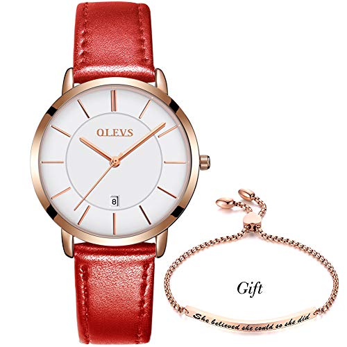 OLEVS Ultra Thin Slim Minimalist Red Leather Wrist Watches and Bracelet Set Gift for Women Ladies Waterproof White Dial Big Face Date Calendar Rose Gold Bezel Simple Casual Dress Analog - Bracelet Watch Ladies Red