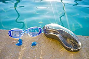 Splashez Waterproof Swimming Goggles for Men and Women - 100% U.v. Protection, Anti-shatter, Anti-fog, Mirror Coated Lenses! Easily Adjustable, Environment Friendly Strap with Plastic Buckle for Easy Removal! + Free Ear Plug (White, Blue)