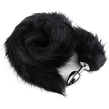 YiZYiF Stainless Steel Faux Fox Tail Funny Sex Toy Adult Romance Games Black