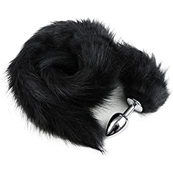 4f6031c4fe2 YiZYiF Stainless Steel Faux Fox Tail Funny Sex Toy Adult Romance Games Black
