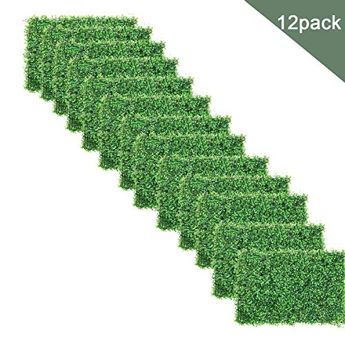 DearHouse Artificial Boxwood Panels Topiary Hedge Plants Artificial Greenery Fence Panels (12pc Boxwood Panels)