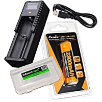 Fenix ARE-X1+ Plus battery charger, Fenix ARB-L-18-2300 18650 Li-ion rechargeable battery with EdisonBright Battery carry case bundle
