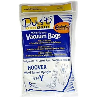 Hoover WindTunnel Upright Type Y Vacuum Bags Microfiltration with Closure - 9 Pack, Compare With Hoover Part # 4010100Y By EnviroCare