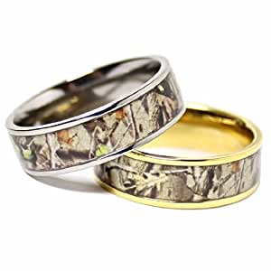 his and her camo wedding rings his amp hers camouflage real forest oak camo 4805