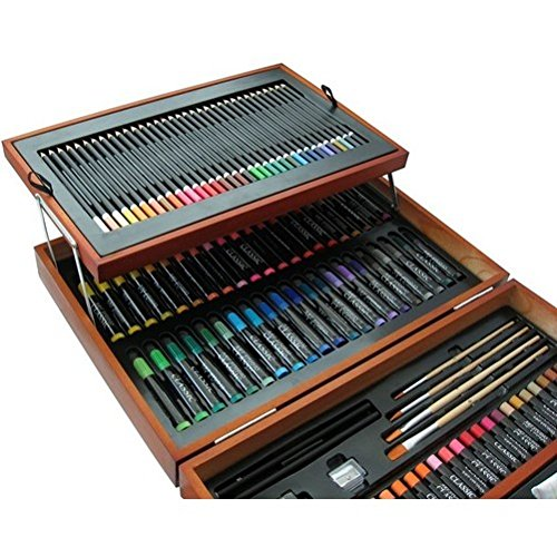 Great Gift For Kids 175 Piece Wooden Art Set Paints Markers