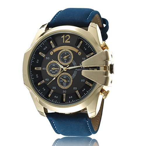 OrrOrr Retro Herren Braun Lederarmbanduhr Sportuhr Quartz Armbanduhr Weihnachtgeschenk Black Gold Blau