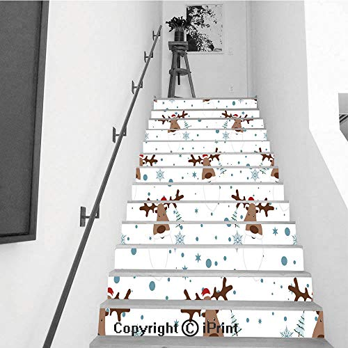 Self-Adhesive Stair Riser Decal - Stair Stickers Decals Wallpaper for Walls Kitchen Bathroom Stair Decals Home Decorations,13 PCS,Deer with Santa Beard on White Background - Reeded Pattern