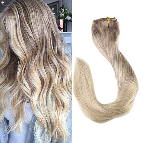 (Promotion) Full Shine 18inch Clip ins Real Human Hair Nordic Clip in Balayage Extensions Remy Clip Hair Human Color #18 Fading to #22 and #60 Full Head Clip Straight Human Extensions 9 Pcs 120 Gram]()