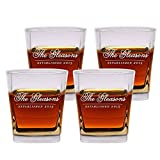 scotch Glasses Set of 4 by Froolu Personalized Engraved Scotch 12 oz. Double Rocks Whiskey / Old Fashioned Glasses For Wedding Gift
