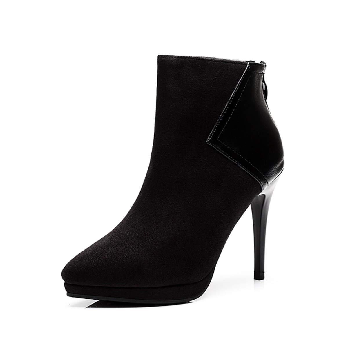 LBTSQ-Wasserdichte Plattform Hochhackigen Schuhe Kurze Stiefel Zeigte Stiefel Nackte Stiefel Zeigte 9Cm SAMT Schöne Frauen-Stiefel Damenschuhe. 9a8cd0