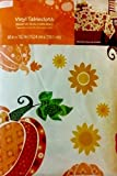 Autumn Whimsical Pumpkins Vinyl Tablecloth 60in X 102in