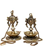 StonKraft Ideal Gift - Pair Of Brass Hanging Diya, Oil Lamp, Lamp For Home and Office (Hanging Length 70cm )