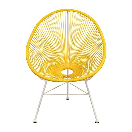 Cheap Design Tree Home Acapulco Indoor/Outdoor Lounge Chair, Yellow Weave on White Frame