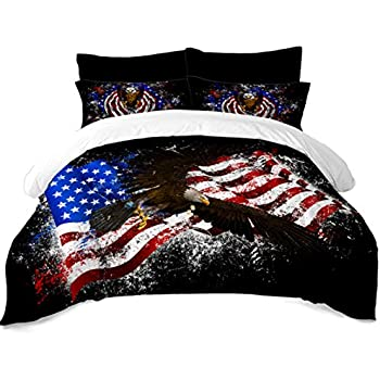 Colorful American Flag Bedding Sets Bald Eagle Printed Duvet Cover Sets Flag Theme Patriot Quilt Cover Twin Size