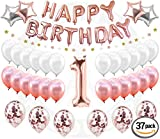 1st BIRTHDAY GIRL DECORATIONS (37 Piece Set) | Great for 1st Birthday Party Supplies and Rose Gold Party Decorations | Includes Rose Gold Confetti Balloons | Happy First BDay Princess Decorations