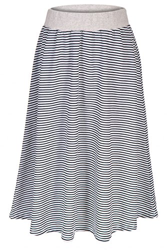 Dani's Choice Easy Casual Stripe A-line Flared Long Skirt