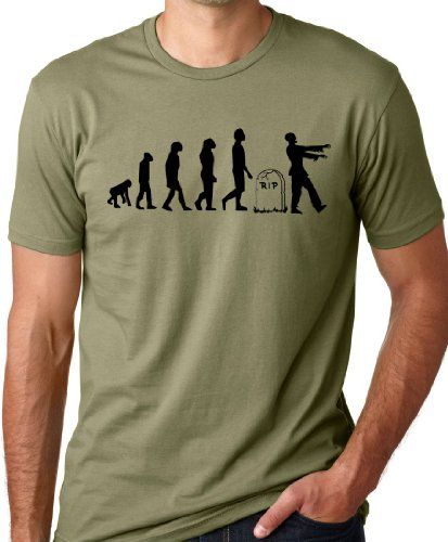 Think Out Loud Apparel Zombie Evolution Funny T-Shirt Olive L