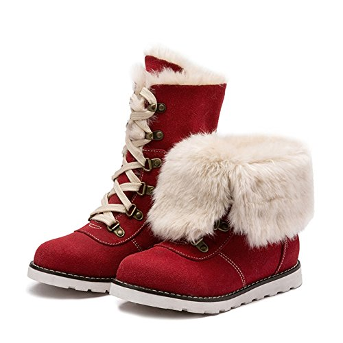 Hoxekle Girls Winter Fur Lining Mid Calf Snow Boots Kid Toddler Anti Slip Lace up Velvet Furry Short Martin Boot Furry Lace Up Boot