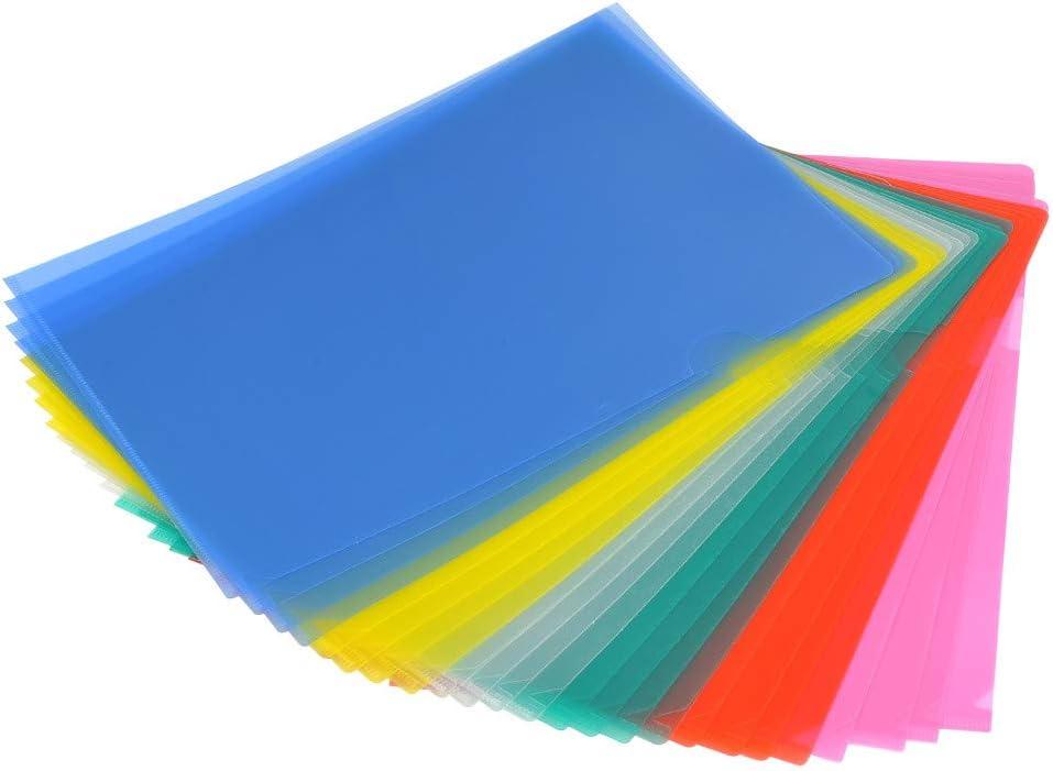 YOTINO 24 Pcs Portafolios de Plástico Transparente Tamaño A4 Cubierta de Protección de Archivo File Archivos de Cubierta de Proyecto (6 colores diferentes)