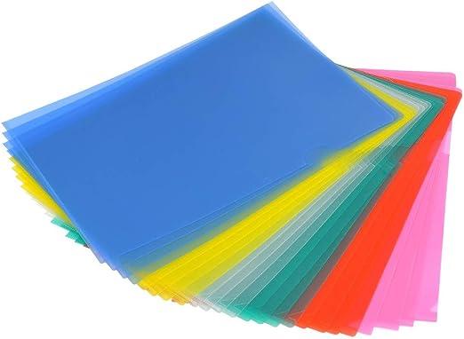 YOTINO 24 Pcs Portafolios de Plástico Transparente Tamaño A4 Cubierta de Protección de Archivo File Archivos de Cubierta de Proyecto (6 colores diferentes): Amazon.es: Hogar