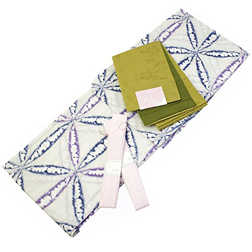 Womens Cotton Yukata 3items set Japanese Summer Kimono Snowflakes Free size by Kimono Japan
