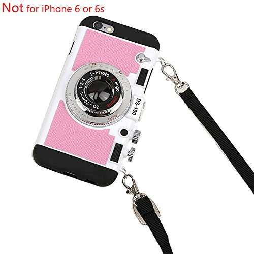 Black Lemon Case for iPhone 6 Plus, Cute Case for iPhone 6s Plus, 3D Unique Design Camera Case PC + Silicone Shockproof Hybrid Cover Case with Long Strap Rope (Pink)