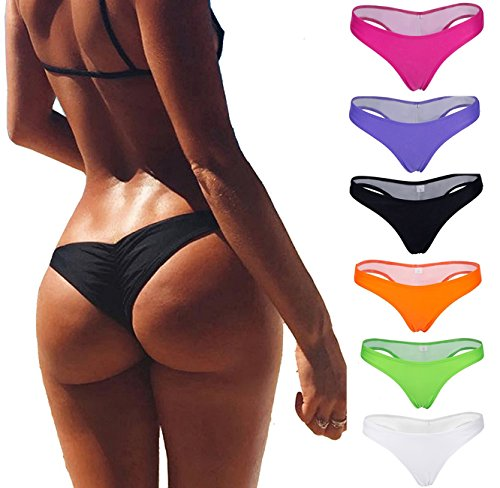 Focussexy Women's Hot Summer Brazilian Beachwear Bikini Bottom Thong Swimwear Black XS