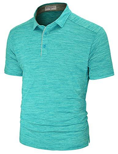 Derminpro Men's Golf Polo Shirts Short Sleeve Quick Dry Performance Athletic T-Shirts Lake Blue ()