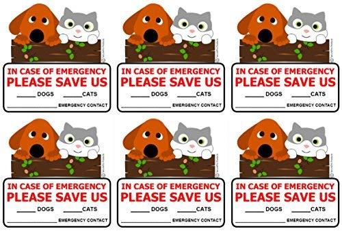 SecurePro Products 6 Pegatinas para Puerta de Rescate para Perros y Gatos, tamaño 10 x 10 cm, en Caso de Incendio o...