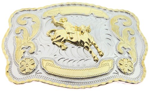 Bull Rider Buckle (RIDE AWAY Rodeo Bull Rider Western Style Gold Color Large Belt)