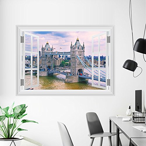 1 Pack England London Tower Bridge Wall Stickers 3D Architectural Landscape Mural Art Posters Decals Living Room Extreme Popular Dream Animals World Moon Star Ocean Sun Flower Vinyl Home Decor 3 D Stickers Elmo