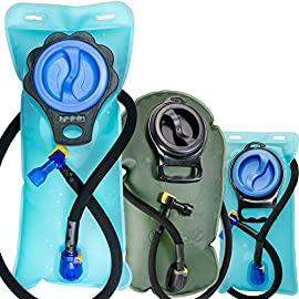 Aquatic Way Hydration Bladder Water Reservoir 2 Liter 2L 70 oz 3 Liter 3L 100 oz For Bicycling Hiking Camping Backpack. Non Toxic Easy Clean Large Opening, Quick Release Insulated Tube & Shutoff Valve 13 ANTI-BACTERIA: Food-grade premium quality anti-bacteria bladder material. Thick hydration bladder is pressure and wear tolerant. Manufactured with leak proof sealing technology. LARGE OPENING FOR EASY CLEANING: Inner surfaces of the water bladder are easily accessible for proper cleaning and drying. For cold water, ADD ICE CUBES directly from a scoop or refrigerator ice dispenser. SOFT MOUTHPIECE: Durable and soft anti-microbial mouthpiece for wholesome and effortless sipping. Easily accessible shutoff valve.