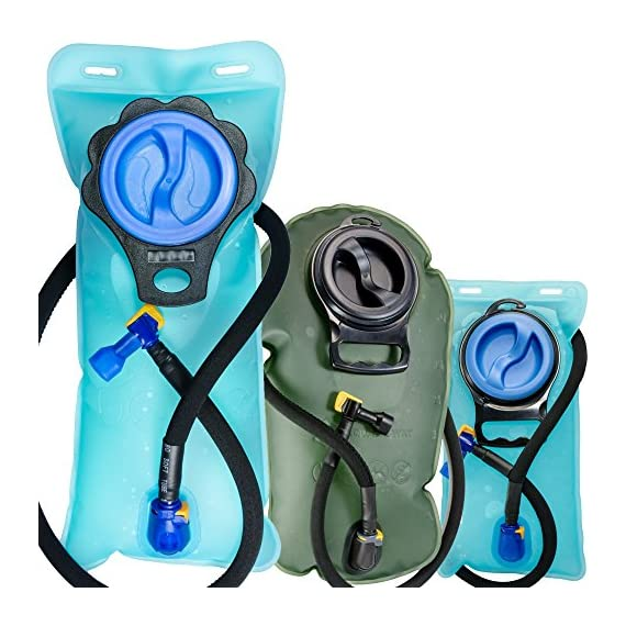 Aquatic Way Hydration Bladder Water Reservoir 2 Liter 2L 70 oz 3 Liter 3L 100 oz For Bicycling Hiking Camping Backpack. Non Toxic Easy Clean Large Opening, Quick Release Insulated Tube & Shutoff Valve 1 ANTI-BACTERIA: Food-grade premium quality anti-bacteria bladder material. Thick hydration bladder is pressure and wear tolerant. Manufactured with leak proof sealing technology. LARGE OPENING FOR EASY CLEANING: Inner surfaces of the water bladder are easily accessible for proper cleaning and drying. For cold water, ADD ICE CUBES directly from a scoop or refrigerator ice dispenser. SOFT MOUTHPIECE: Durable and soft anti-microbial mouthpiece for wholesome and effortless sipping. Easily accessible shutoff valve.